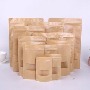 Kraft Paper Bag 12 Sizes Stand Up Gift Dried Food Fruit Tea Packaging Pouches Kraft Paper Window Bag Retail Zipper Self Sealing Bags