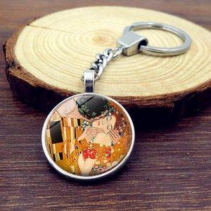 Gustav Klimt Kiss Kilkchain Ювелирные изделия с серебряным цветным стеклом Cabochon Klimt Kiss Chanse Car Keychain Ring для женщин подарок BByifm