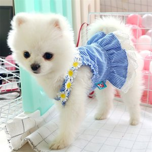 Dress Mini Blue Grid Sun Lace Spring Summer Clothes For Small Party Dog Skirt Puppy Pet Costume Pets Outfits LJ200923