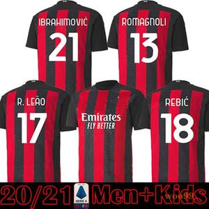 Men kids kit 20 21 AC soccer jerseys 2020 2021 XXL Men football shirt Red Black uniforms maillot de foot