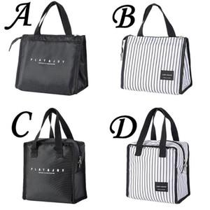 أزياء الرجال الغداء حقيبة حمل حقيبة دائم الأبيض الأسود الغداء المنظم الجليد مربع الحرارية بينتو الحقيبة حامل تخزين الحاويات # 45