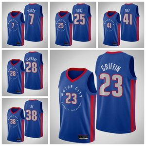 DetroitPistonlarErkekler 23 BlakeGriffin 25 DerrickRose Kennard 2020/21 Swingman City Basketbol Jersey Mavi Icon Edition