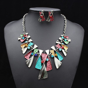 Big Brand Color Alloy Fashion Diamond Necklace Stud Earrings Set Bridal Jewelry Factory Direct Sales