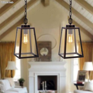 110-240V Wide Pressure American Wrought Iron Glass Chandelier E26 Interface Black Painted Gold Painted Dining Pendant Light