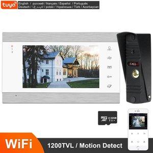 فيديو إنترفون 7 بوصة واي فاي مراقب 1200tvl ir للرؤية الليلية الجرس ip video video doorbell tuya التطبيق عن بعد فتح الاتصال الداخلي للمنزل