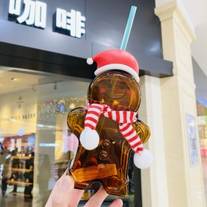 New Starbucks Christmas Gingerbread man glass straw cup with Scarf 730ML Coffee cup for out door
