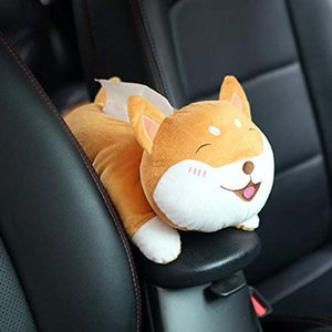 Plush Toy Style Anime Hanging Tissue Holder Tissue Box Cartoon Cover Paper Holder Napkin Paper Box (Shiba Inu)