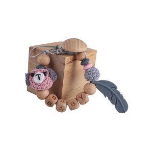 Деревянное перо мультфильм детское соску зажимли цепные бусины предотвращать зажимы держателя Paci Teether Teether Nipple Teether фиктивные ремни цепи B2836