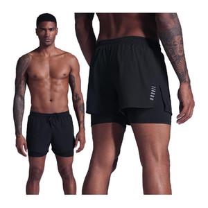 2 em 1 shorts homens executando treinamento rápido ginásio seco esporte curto longo liner liner respirável corrida ciclismo shorts