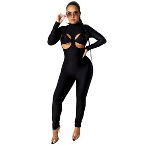 Sexy High Neck Womens Rompers Fashion Soild Color Long Sleeve Hollow Out Designer Skinny Ladies Jumpsuits