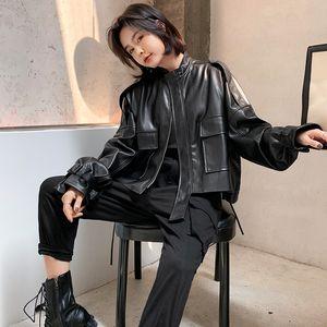 FMFSSOM Big Pocket Loose Design BF MotoBike Zipper Puff Sleeve Chic Women Lady Pu Leather Jacket