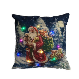 New Year Led FlaxFashion Cushion Cover Simple Happy Decorative pillow Case Christmas Decorations For Home 45Cm*45Cm