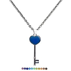 Fashion necklaces Color Changing Temperature sensing key necklace Mood heart key pendant women necklaces fashion jewelry will and sandy new