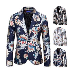 Men's Suit Blazer Floral Printed One Button Prom Jacket Slim Fit Jacket Mens Blazer Personality Jacket