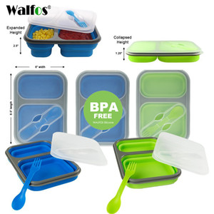 WALFOS Silicone Collapsible Portable Lunch Box Bowl Bento Boxes Folding Food Storage Container Lunchbox for Outdoor Travel Z1123