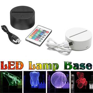 터치 3D LED 조명 홀더 램프베이스 4mm 아크릴 패널 야간 조명 교체 다채로운 테이블 라이트 장식 홀더 배터리 또는 USB 전원