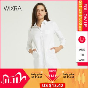 Wixra Women Solid Slim White Cotton Blouse Ladies Elegant Long Sleeve Pockets Casual Long Shirts Autumn Spring Tops A1112
