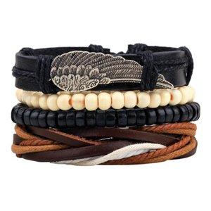 Новый стиль браслет орнамент многопартированного комбинированного браслета ручной работы из кожи деревянные бусины из бисера сплетенный браслет N Qylzty