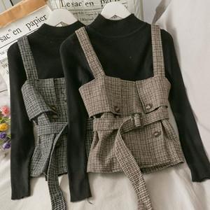 Pearl Diary Women Set Threapponte lana de lana Top Doble Breasted con el cinturón Invierno Manga larga Básica Black Slim Slim Knit Jersey