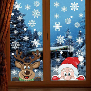 Removable Christmas Stickers Double-sided Snowflake Electrostatic Glass Stickers Xmas Window Wallpaper Decoration Wall