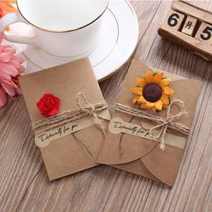 Retro Kraft Paper Открытка Creative DIY Handmade Высушенные День Рождения День Святого Валентина Универсальные Благословение Подарки VTKY2168