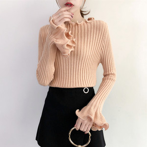 Aossviao 2020 otoño invierno dulce chic lindo camisas de punto mujeres volantes buen elasticidad jerseys flae manga suéteres tapas