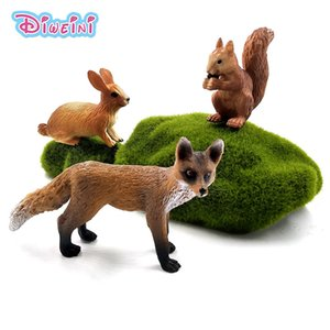 Christmas Small Fox Rabbit Squirrel Forest Simulation Animal Model Figure Diy Decoration Educational Toy Figurine Gift For Kids