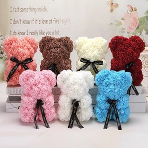 HOT Day 25cm Red Teddy Bear Rose Flower Artificial Decoration Christmas Gifts Women Valentines Gift 15 colors DHF1506