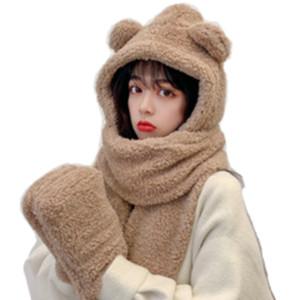 Korean Version Web Celebrity CuteFashionBears Hat Scarf Gloves 3 In 1 Winter Warm Comfortbale Children and Women' Head Scarf Scarf Lamb Down