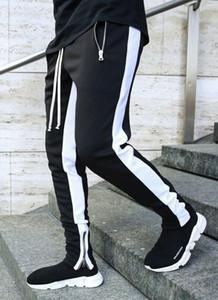 Pantaloni da uomo Pantaloni da uomo Joggers Casual fitness uomo sportswear Tocksuit Bottoms Skinny Zipper Pantaloni Black Palestre da jogger striato lungo