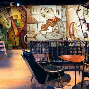 Dropship Custom Mural 3D Abstract Graffiti Painting Personality Music Cafe Bar Waterproof Mural Wallpaper Home Improvement