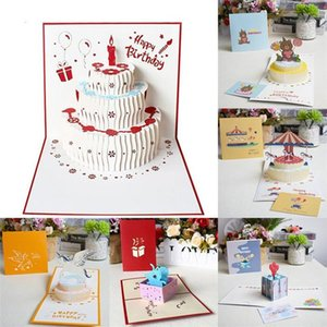 Various Styles 3d Pop-up Greeting Card Handmade Dream Cake Happy Birthday Valentine's Day Christmas Wedding Invitation Thank You Postca