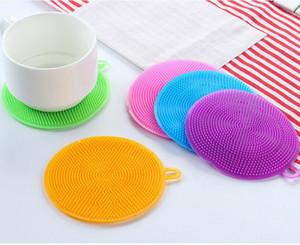 Silicone Brush Brush Brush Ciotola Pennelli per la pulizia Pennelli multifunzione Scouring Pad Drophloth Coasters Cleaner Cucina Cucina Piatto Strumento di lavaggio FFC3290