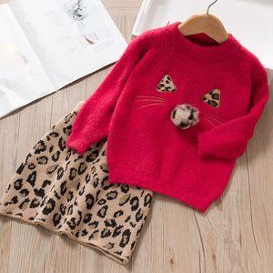Sweet Girls sable fur Knitting Outfit Children Cute Cat Knitting Sweater Pullover+leopard Skirt 2Pcs Kids Leopard Sweater Sets A5290