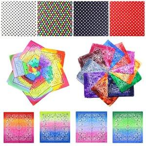hot 7 styles Tie dye Bandana double color square gradient hip-hop headscarf printed colorful Head Scarf 55*55cm Party Favor 500pcs T2I51130