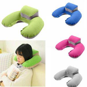 Inflatable U-Shape Neck Pillow Air Cushion Soft Head Rest Compact Plane Flight Travel 4 Colors Free DHL