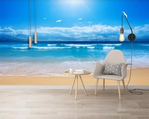 3d Seascape Wallpaper Classic 3D Wallpaper HD Blue Sky Sea Beach Landscape Background Wall Romantic 3d Landscape Wallpaper