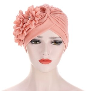 Pearl Flower muslim hijab caps solid color wrap head Inner hijabs cotton Beads turban bonnet for women islamic underscarf cap