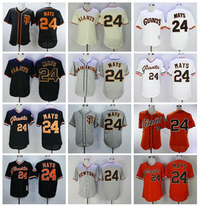 Retirar 1989 Vintage 24 Willie Mays Baseball Jersey Homens Cool Base Pullover Flexbase Respirável Equipe Cor Preto Cinza Branco Laranja Branco Bege