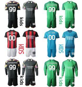 2021 Milán Kit de niños personalizado 19 THEO 77 Jerseys de fútbol Hallovic 11 Ibrahimovic 10 Calhanoglu Portero 99 Donnarumma Boys Uniform Conjuntos