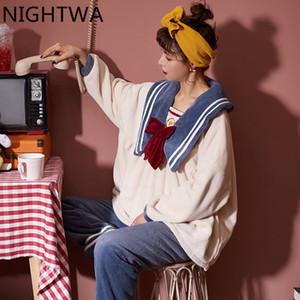 Nightwa Новая зимняя густая теплая фланелевая пижама наборы для женщин спящая одежда Pajama домашний носить милые пижамы