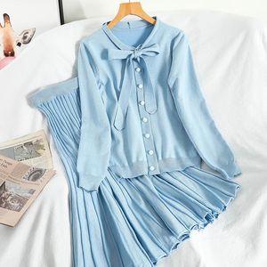 Korean 2020 New Autumn Winter Tie collar knit Simple collar sweater + high waist pleated skirt two-piece sets TZ640