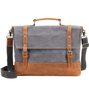 Men Waterproof Canvas Briefcase Messenger Bag Men's Natural Leather 14'' Laptop Bags Male Handbag Office Business Document Tote