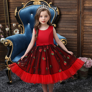 European fashion Sequin Princess Wedding wedding dress fashion children's wear red ball evening dress lovely 4-12 years old girl dress