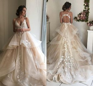 Champagne Floral Lace Wedding Dresses 2021 Sexy Backless Ruffles Puffy Bridal Gowns Beach Wedding Gowns Vestido De Noiva