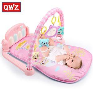 Qwz 3 en 1 estera iluminación suave ratones musicales para bebés juguetes educativos Play Piano Gimnasio Bebé regalos Q1120