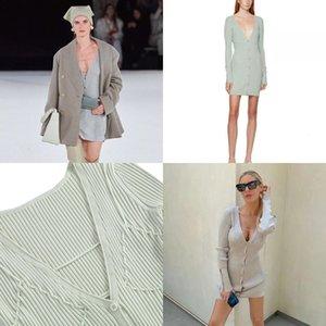 Women CrewNeck Hollow Dress Mini Out Ov Jacquemuserall Sweater neck Sexy Strap design Beach Cover-ups Dresses Seaside Holes Body Sheath Knit