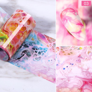 Marble Nail Foil for Manicuring UV Gel Polish Sticker Colorful Flowers Design Transfer Decal Nail Art Decoration Wraps