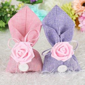 Estilo europeu rosa flor decoração casamento favores caixas de doces presentes Caixa de doces sacos de nupcial Caixa de presente do chuveiro GWF3779