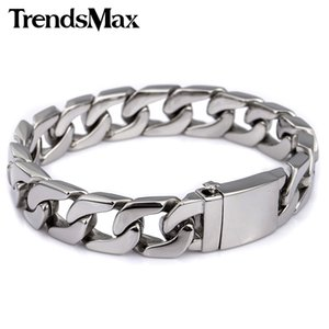 Men's Bracelet Curb Link Chain Wristband 316L Stainless Steel Bracelet For Male Jewelry Dropshipping Wholesale 13mm KHB83 Y1130